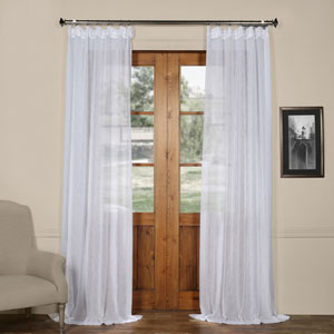 Aspen White Solid Faux Linen 50 x 120-Inch Sheer Curtain
