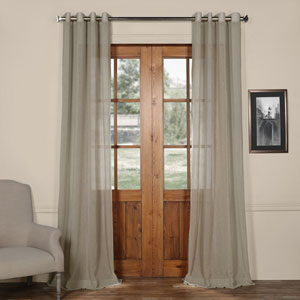 Paris Grey Grommet Solid Faux Linen 50 x 120-Inch Sheer Curtain