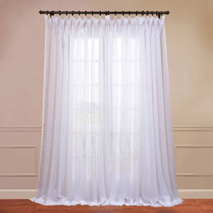 Doublewide Solid White 100 x 120-Inch Sheer Curtain