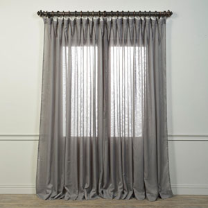 Signature Grey 84 x 100-Inch Double Wide Sheer Curtain Single Panel