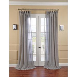 Nickel Faux Linen Sheer Single Panel Curtain Panel, 50 X 108