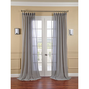 Nickel Faux Linen Sheer Single Panel Curtain Panel, 50 X 120