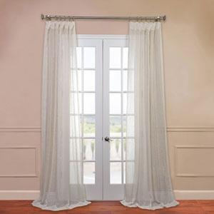 Open Weave Cream 50 x 96-Inch Linen Sheer Curtain