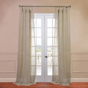 Open Weave Natural 50 x 96-Inch Linen Sheer Curtain