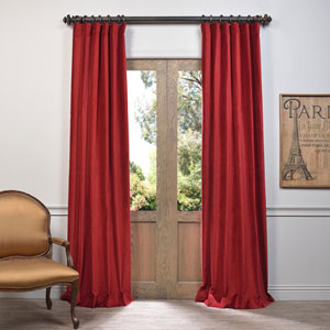 Red 108 x 50-Inch Vintage Cotton Velvet Curtain Single Panel