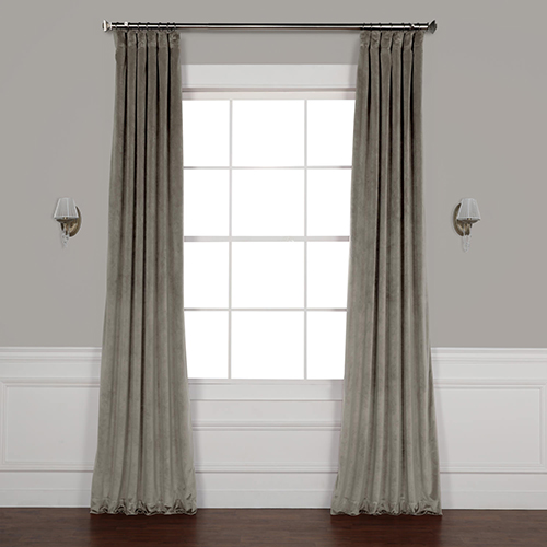 Grey 108 x 50 In. Plush Velvet Curtain Single Panel