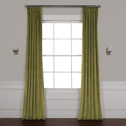 Green 108 x 50 In. Plush Velvet Curtain Single Panel