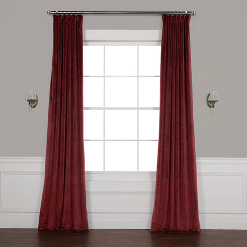 Red 108 x 50 In. Plush Velvet Curtain Single Panel