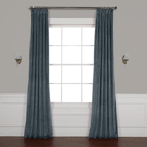 Blue 108 x 50 In. Plush Velvet Curtain Single Panel