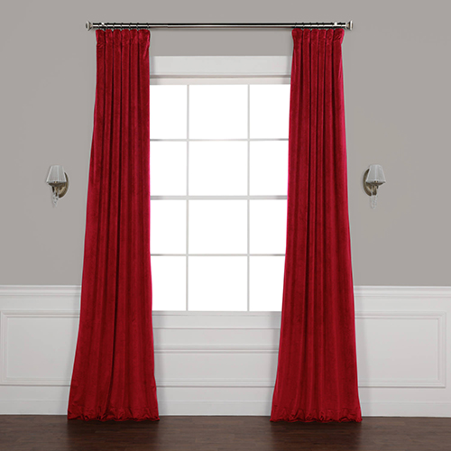 Movie Theater Red 84 x 50 In. Plush Velvet Curtain Single Panel