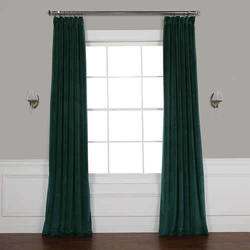 Forest Green 96 x 50 In. Plush Velvet Curtain Single Panel