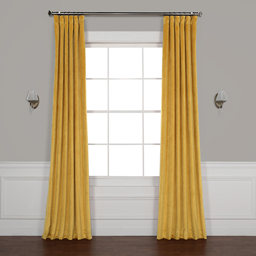 California Gold 96 x 50 In. Plush Velvet Curtain Single Panel