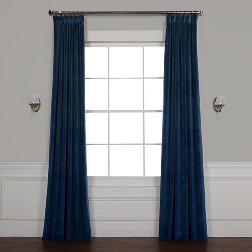 Space Blue 84 x 50 In. Plush Velvet Curtain Single Panel
