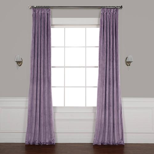 Lilac Purple 84 x 50 In. Plush Velvet Curtain Single Panel
