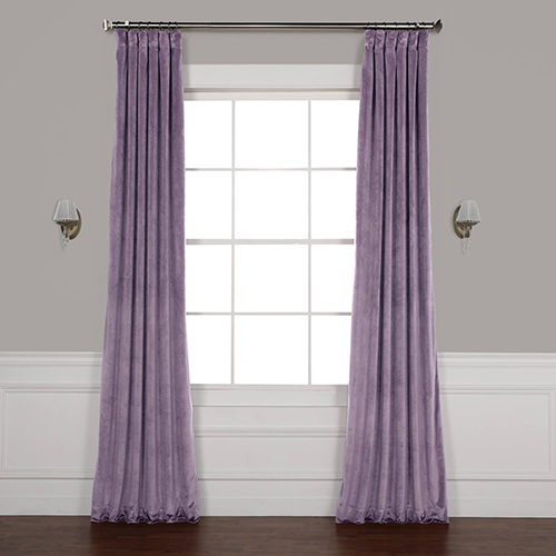 Lilac Purple 96 x 50 In. Plush Velvet Curtain Single Panel