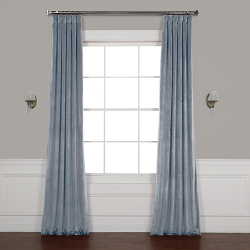 Shores Blue 84 x 50 In. Plush Velvet Curtain Single Panel