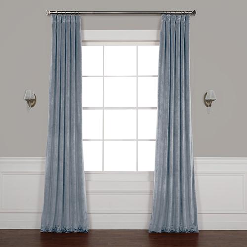 Shores Blue 96 x 50 In. Plush Velvet Curtain Single Panel