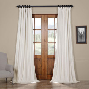 Porcelain White Blackout Velvet Pole Pocket Single Panel Curtain, 50 X 96