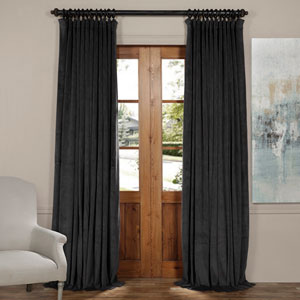 Gunmetal Gray 108 x 100-Inch Doublewide Blackout Velvet Curtain