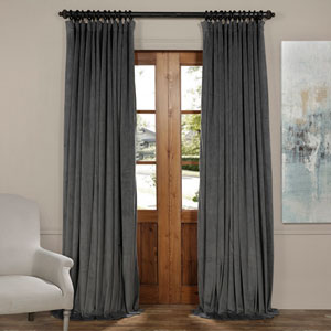Natural Gray 120 x 100-Inch Doublewide Blackout Velvet Curtain