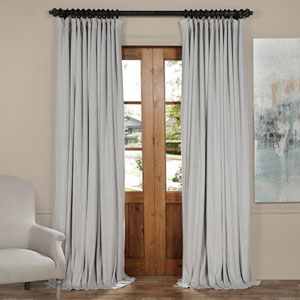 Reflection Gray 84 x 100-Inch Doublewide Blackout Velvet Curtain