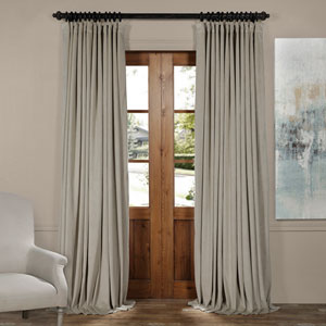 Cool Beige 120 x 100-Inch Doublewide Blackout Velvet Curtain
