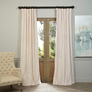 Alabaster Beige Blackout Velvet Pole Pocket Single Panel Curtain, 50 X 108