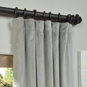 Signature Silver Grey Blackout Velvet Pole Pocket Single Panel Curtain, 50 X 84
