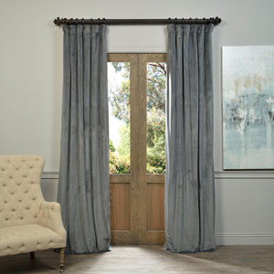 Natural Grey Blackout Velvet Pole Pocket Single Panel Curtain, 50 X 96