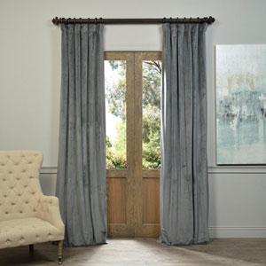 Natural Grey Blackout Velvet Pole Pocket Single Panel Curtain, 50 X 96