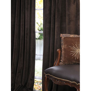 Signature Java Blackout Velvet Pole Pocket Single Panel Curtain, 50 X 108