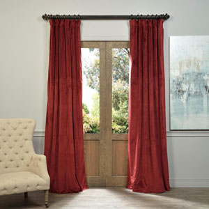 Signature Burgundy Blackout Velvet Pole Pocket Single Panel Curtain, 50 X 108