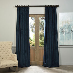 Signature Midnight Blue Blackout Velvet Pole Pocket Single Panel Curtain, 50 X 96