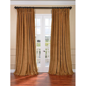 Signature Amber Gold Double Wide Velvet Blackout Pole Pocket Single Panel Curtain, 100 X 120