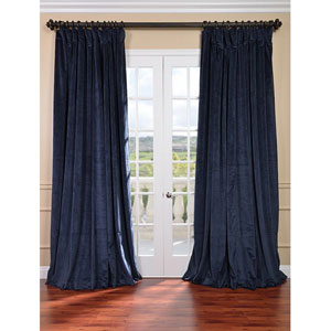 Signature Midnight Blue Double Wide Velvet Blackout Pole Pocket Single Panel Curtain, 100 X 108