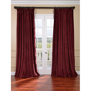 Signature Burgundy Double Wide Velvet Blackout Pole Pocket Single Panel Curtain, 100 X 120