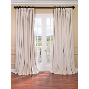 Signature Ivory Double Wide Velvet Blackout Pole Pocket Single Panel Curtain, 100 X 120