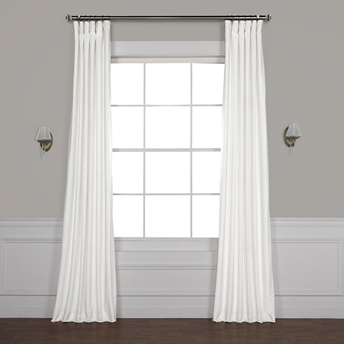 White 84 x 50 In. Plush Velvet Curtain Single Panel
