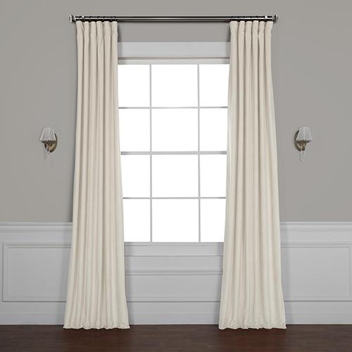 Ivory 84 x 50 In. Plush Velvet Curtain Single Panel