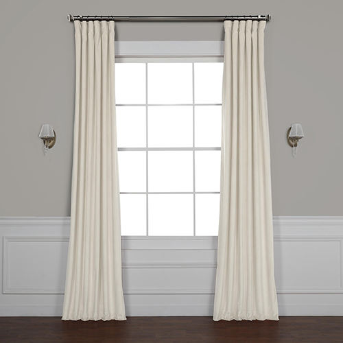 Light Beige 96 x 50 In. Plush Velvet Curtain Single Panel