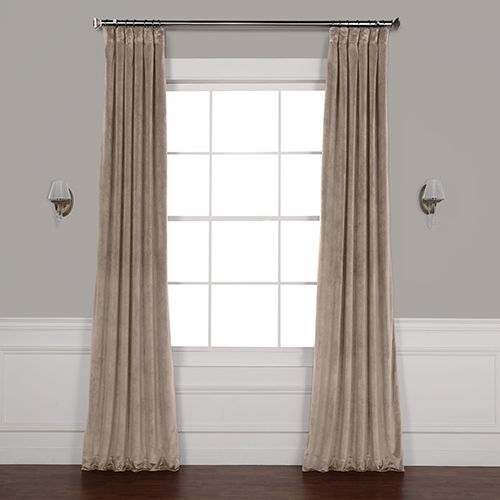 Brown 84 x 50 In. Plush Velvet Curtain Single Panel