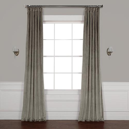 Grey 84 x 50 In. Plush Velvet Curtain Single Panel