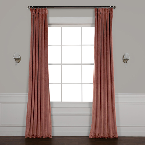Pink 84 x 50 In. Plush Velvet Curtain Single Panel