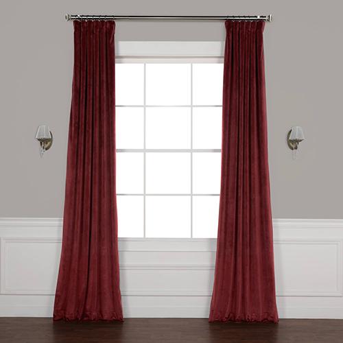 Red 84 x 50 In. Plush Velvet Curtain Single Panel