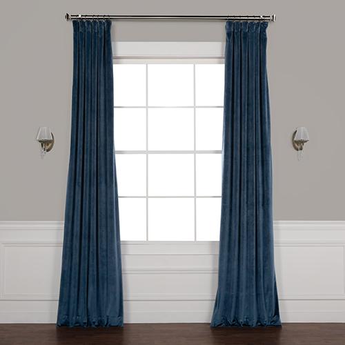 Blue 84 x 50 In. Plush Velvet Curtain Single Panel