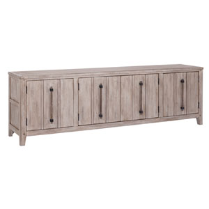 Aurora Whitewashed 80-Inch TV Console