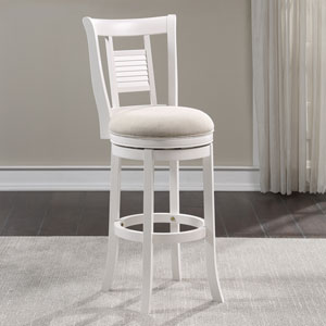 Grove White and Ivory Swivel Bar Stool