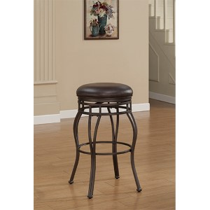 Villa Taupe Grey Tall Bar Stool with Russet Brown Bonded Leather Seat