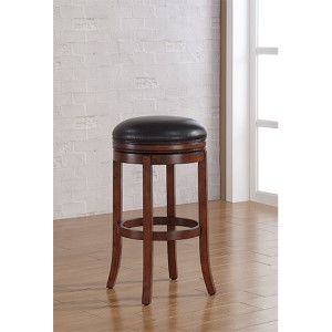 Stella Medium Walnut Backless Bar Stool with Java Bonded Leather Seat