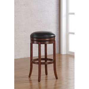 Stella Medium Walnut Tall Bar Stool with Java Bonded Leather Seat